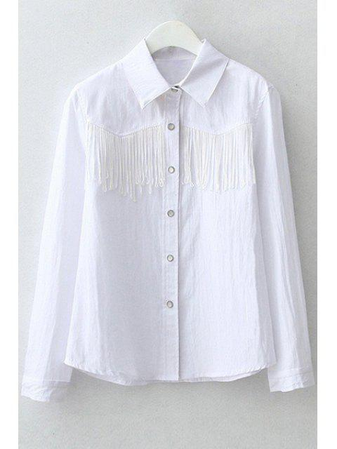 women Polo Collar Fringe Splicing Long Sleeve Shirt - WHITE L Mobile