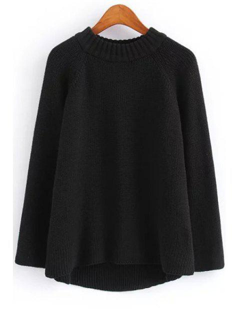 hot Solid Color Round Neck Long Sleeve Jumper - BLACK ONE SIZE(FIT SIZE XS TO M) Mobile