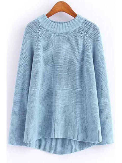 fashion Solid Color Round Neck Long Sleeve Jumper - BLUE ONE SIZE(FIT SIZE XS TO M) Mobile
