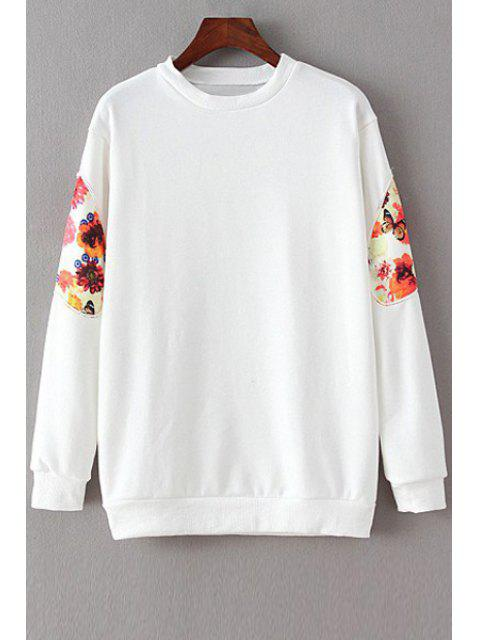 fancy Floral Spliced Long Sleeve Sweatshirt - WHITE M Mobile