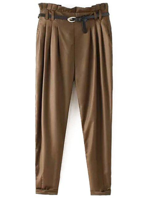 shops Narrow Feet Harem Pants With Belt - COFFEE L Mobile