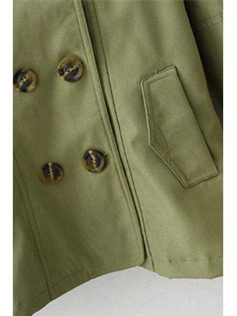 womens Solid Color Lapel Long Sleeves Trench - KHAKI S Mobile