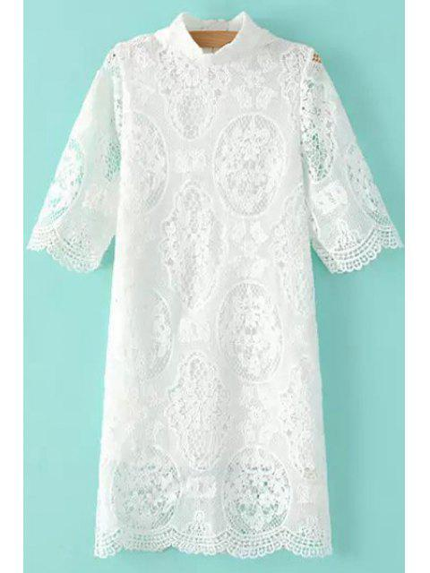 outfits Stand-Up Collar Openwork Lace Dress - WHITE M Mobile