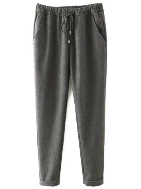 fancy Elastic Waist Tie-Up Pants - GRAY 2XL Mobile
