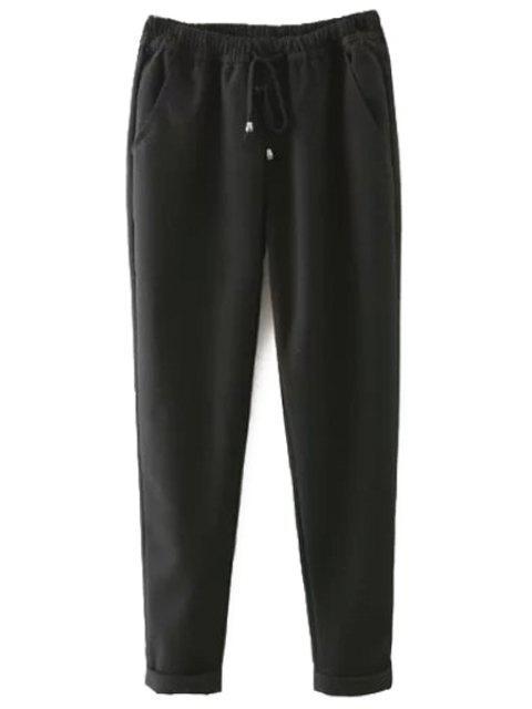 buy Elastic Waist Tie-Up Pants - BLACK S Mobile