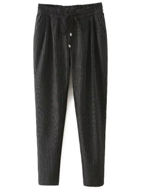 sale Tie-Up Stripe Pants - BLACK XL Mobile