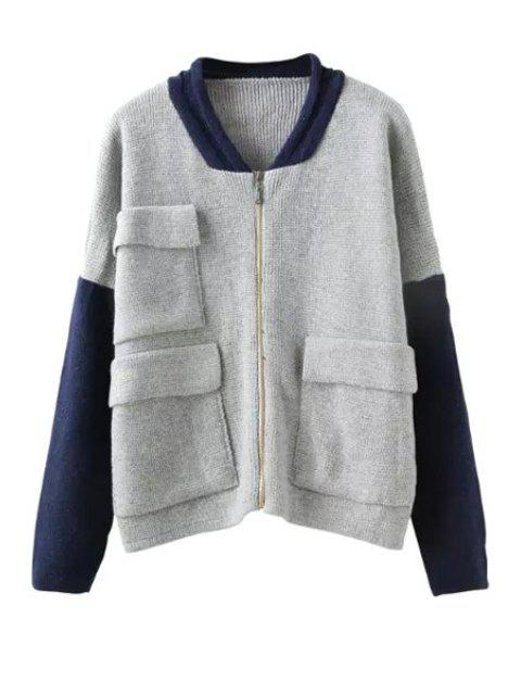 lady Color Block Pocket Knitted Coat - GRAY ONE SIZE(FIT SIZE XS TO M) Mobile