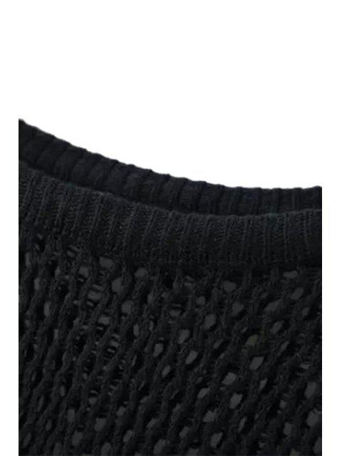 chic Loose-Fitting Long Hollow Sweater - BLACK ONE SIZE(FIT SIZE XS TO M) Mobile