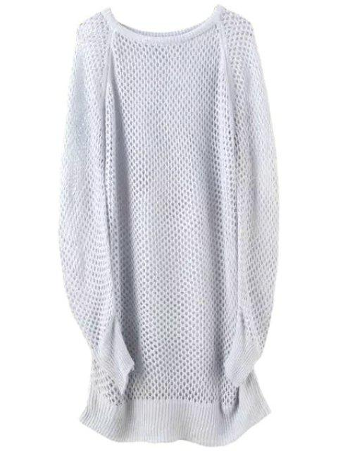 latest Loose-Fitting Long Hollow Sweater - GRAY ONE SIZE(FIT SIZE XS TO M) Mobile