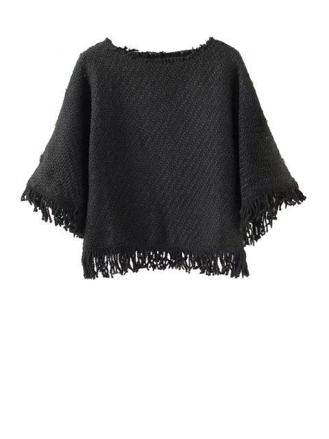 unique Solid Color Tassels Spliced Sweater - BLACK S Mobile