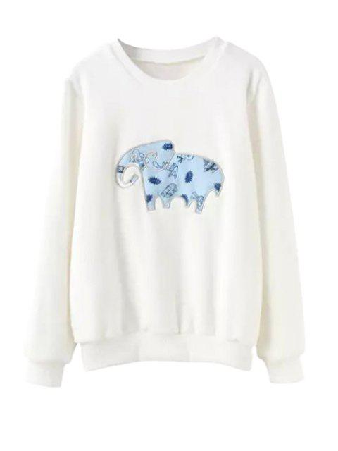 fashion Long Sleeve Elephant Print Sweatshirt - WHITE S Mobile