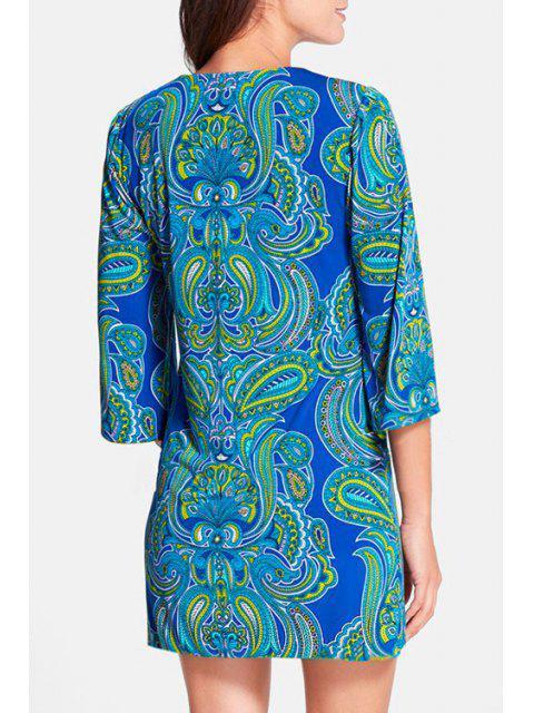 women's Paisley Print V Neck 3/4 Sleeves Dress - BLUE S Mobile