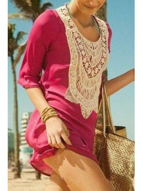 online Crochet Spliced 3/4 Sleeve Cover Up - PEACH RED ONE SIZE(FIT SIZE XS TO M) Mobile