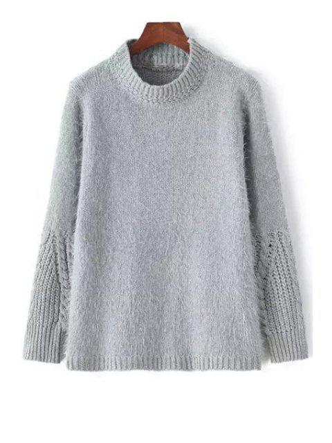 new Stand Neck Solid Color Jumper - GRAY ONE SIZE(FIT SIZE XS TO M) Mobile
