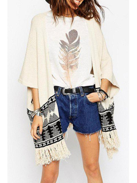 outfit Open Front Jacquard Tassels Cardigan - OFF-WHITE ONE SIZE(FIT SIZE XS TO M) Mobile