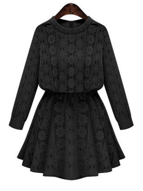 trendy Long Sleeve Openwork Lace Hook Dress - BLACK XL Mobile