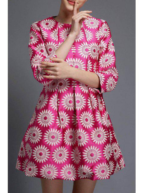 women 3/4 Sleeve Sunflower A-Line Dress - ROSE L Mobile