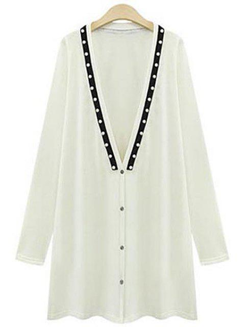 shops Long Sleeve Beading Long Cardigan - WHITE 3XL Mobile