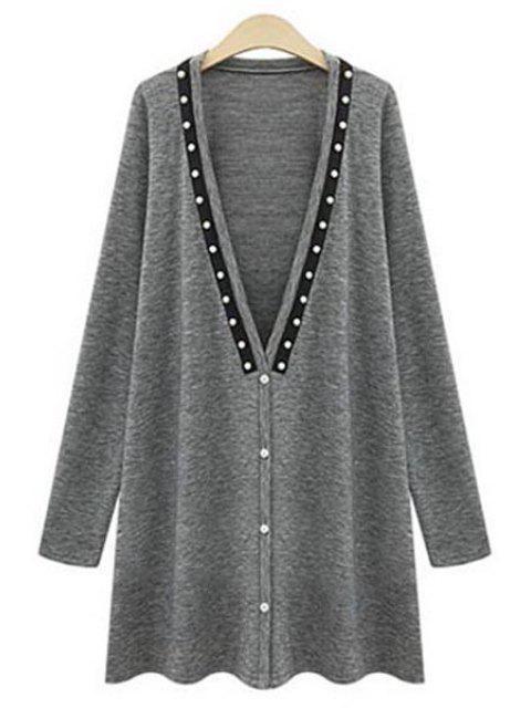 fashion Long Sleeve Beading Long Cardigan - GRAY XL Mobile