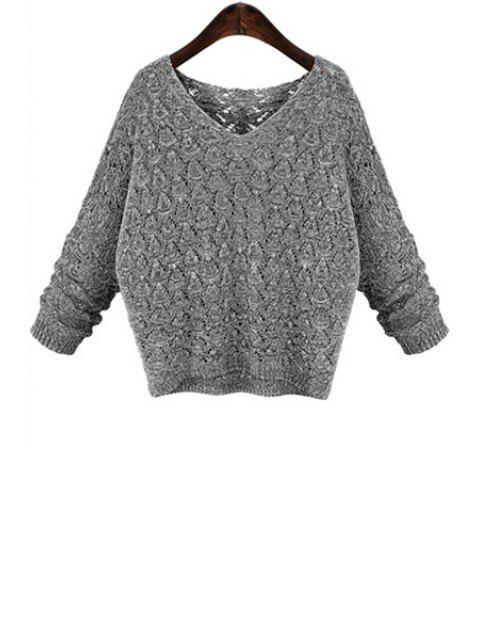women Batwing Sleeve Hollow Sweater - GRAY 3XL Mobile