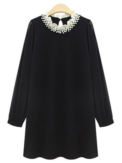 ladies Long Sleeve Beaded Chiffon Dress - BLACK 5XL Mobile