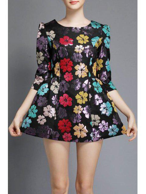 buy Three Quarter Sleeve Floral A-Line Dress - BLACK M Mobile