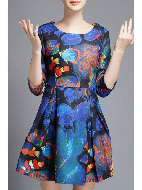 outfit Underwater World Print A-Line Dress - BLUE S Mobile