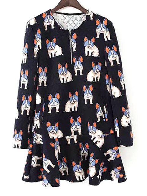 online Dogs Print Long Sleeve Dress - BLACK L Mobile
