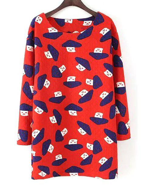 lady Scoop Neck Mushroom Print Long Sleeve Dress - RED S Mobile
