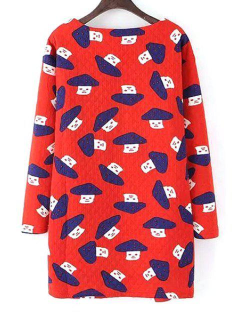 lady Scoop Neck Mushroom Print Long Sleeve Dress - RED S Mobile