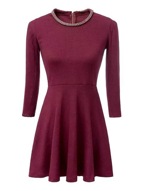 outfits Sequined Embellished 3/4 Sleeve Dress - RED S Mobile