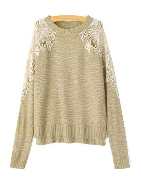 trendy Lace Splicing Openwork Long Sleeve Sweater - KHAKI L Mobile