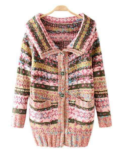 women Turn-Down Collar Colorful Stripe Long Sleeve Cardigan - PINK ONE SIZE(FIT SIZE XS TO M) Mobile