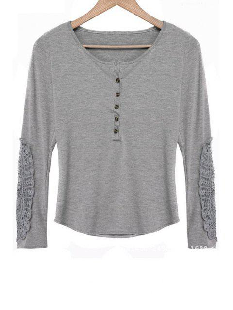 sale Lace Spliced Scoop Neck Long Sleeves T-Shirt - GRAY XL Mobile