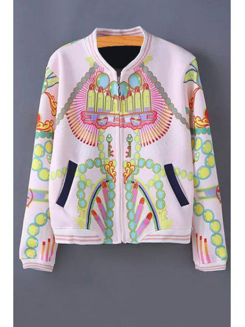 affordable Stand-Up Collar Color Block Printed Jacket - LIGHT PINK ONE SIZE(FIT SIZE XS TO M) Mobile