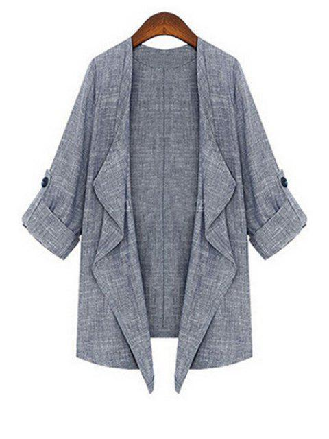 women's Gray Turn Down Collar 3/4 Sleeve Coat - GRAY M Mobile