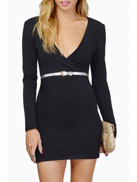 ladies Plunging Neck Long Sleeve Bodycon Dress - BLACK XL Mobile
