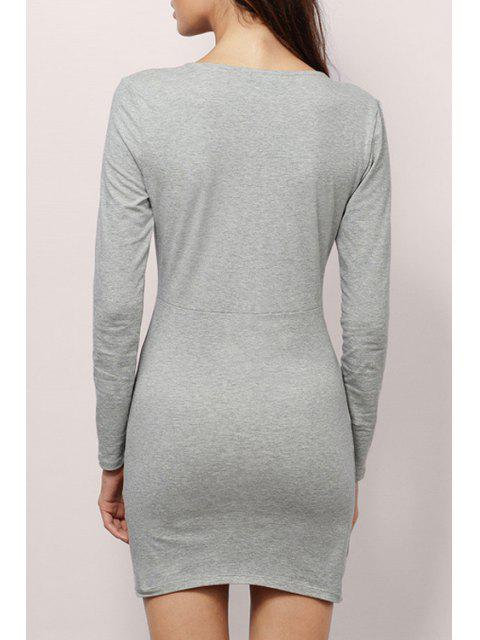 shop Plunging Neck Long Sleeve Bodycon Dress - GRAY M Mobile