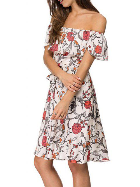 fashion Off-The-Shoulder Floral Chiffon Dress - WHITE S Mobile