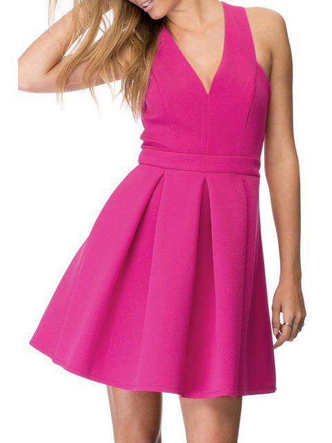 best Crisscross Back A-Line Dress - ROSE 2XL Mobile
