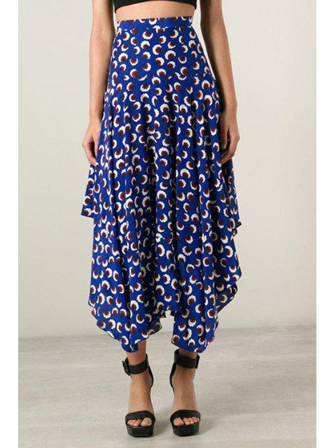 women's Asymmetrical Floral Printed Skirt - BLUE S Mobile