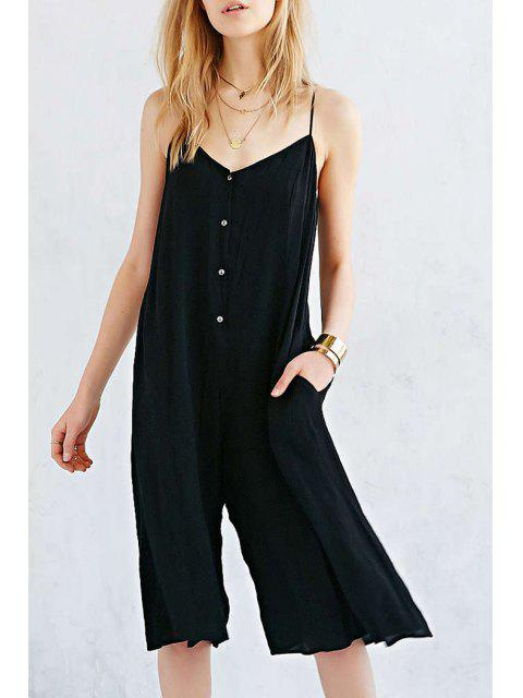 buy Button Pocket Design Wide Leg Jumpsuit - BLACK XL Mobile
