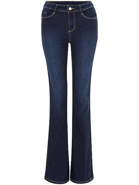 hot Blue Faded Flared Jeans - DEEP BLUE M Mobile
