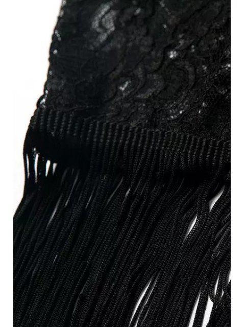 Kimono en demi-manche en dentelle florale - Noir M Mobile
