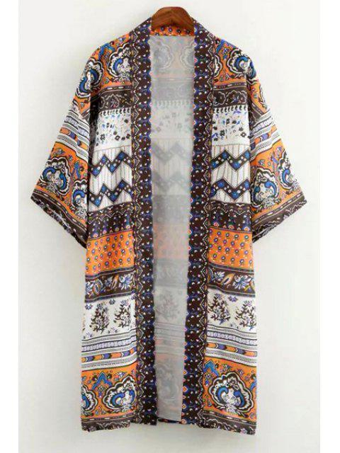 trendy Vintage Print 3/4 Sleeve Kimono - WHITE AND BLACK M Mobile