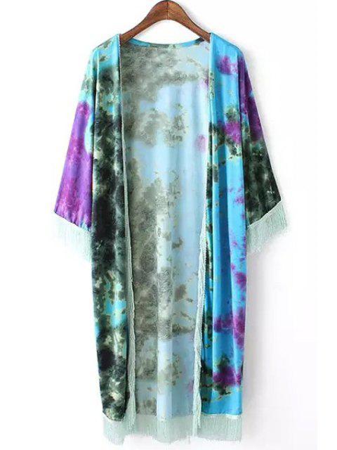 women's Tie Dye Print 3/4 Sleeve Kimono - WATER BLUE M Mobile