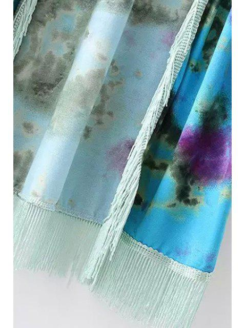 ladies Tie Dye Print 3/4 Sleeve Kimono - WATER BLUE L Mobile