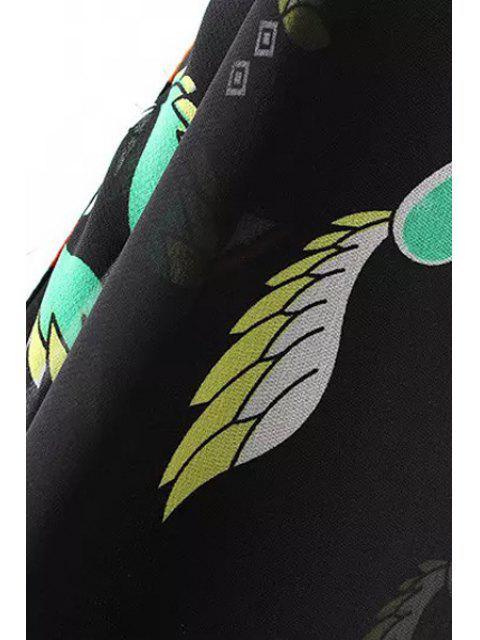 Kimono en mousseline à manches longues - Noir L Mobile