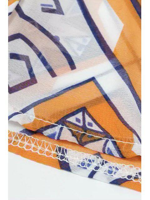 Chemisier de Kimono à imprimé géométrique sans collier - Multicolore XL Mobile