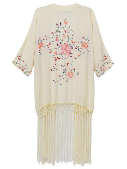 unique Flowers Print Half Sleeves Kimono - BEIGE M Mobile